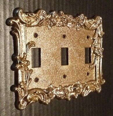 Vtg.Solid Brass Triple Toggle Light Switch Plate Cover