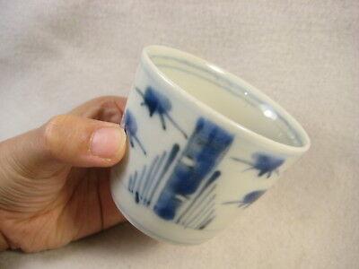 ANTIQUE JAPANESE (c.1910) SOBA NOODLE DISH CUP HAND PAINTED BAMBOO
