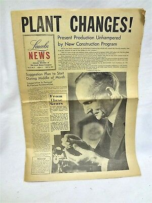 Lincoln (Automobile) News. 1947 Ford Motor Co. Newspaper.  Memorial To H. Ford.
