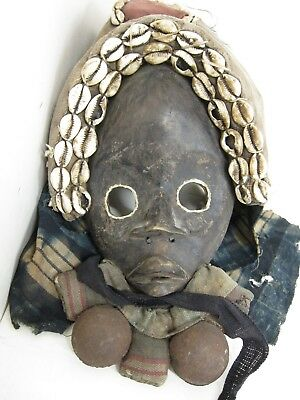 Ivory Coast Dan Dance Mask VTG Tribal African Primitive Carved Wood Cowrie Shell