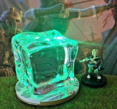 LED Light Up GREEN Gelatinous Cube Dungeon & Dragons D&D Pathfinder miniature