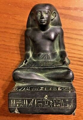 Ancient Egyptian Louvre Museum Reproduction Statuette Of Iay Scribe Statue