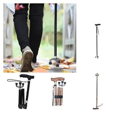 Adjustable Lightweight Easy Fold LED Aluminum Walking Stick Cane Tripod Tips