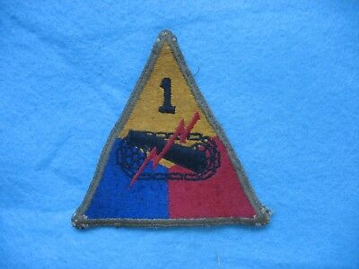 Original salty used WWII US Army 1st Armored Division greenback patch w/ snaps