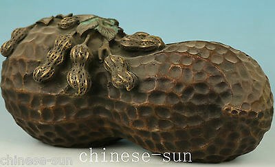 Rare Ancient Chinese Big bronze Carving Peanu Statue Feng Shui Home decoration
