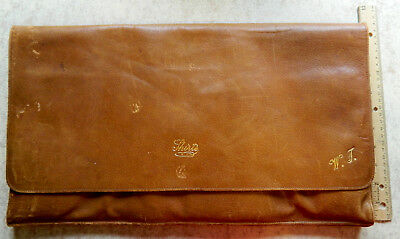Vintage early 20th century Men's leather travel case for shirts, collars, ties