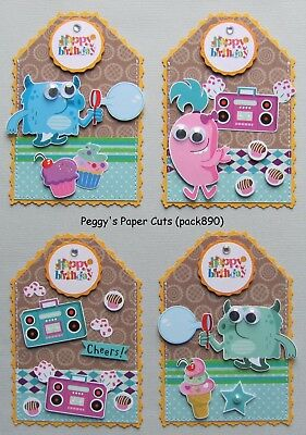 Handmade Happy Birthday Gift Card Money Holders Tags 4 Sewn Paper