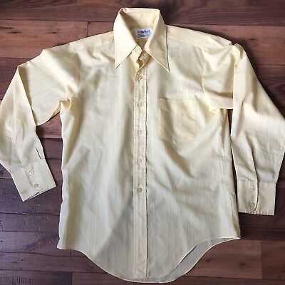 Marlboro Mens Dress Shirt Yellow Sz Small Disco Collar Vintage