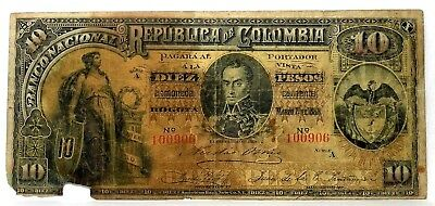 1888 COLOMBIA 10 PESOS PICK # 216a LARGE NOTE