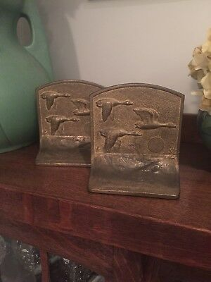 Vintage Cast Iron Flying Geese Bookends Arts Crafts Duck Swan Art Deco