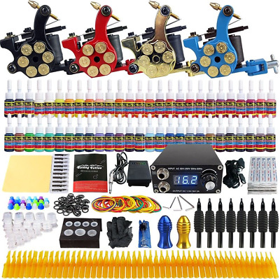 Complete Tattoo Kit Professional Inkstar 4 Machine ROTARY Set GUN 54 Colors Ink