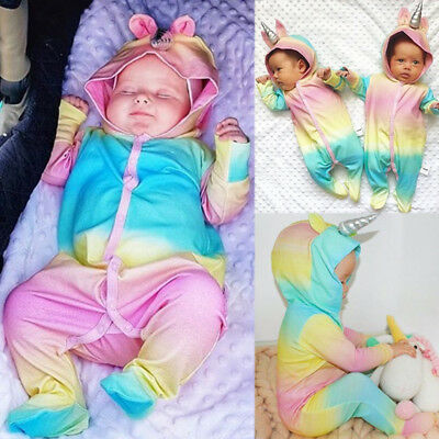 Costume Newborn Baby Girls Unicorn Romper Jumpsuit Jumper Outfits Hooded Clothes