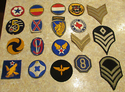 WW2 World War II American Patches Lot of 20 w/ Theater made ORIGINAL VINTAGE USA
