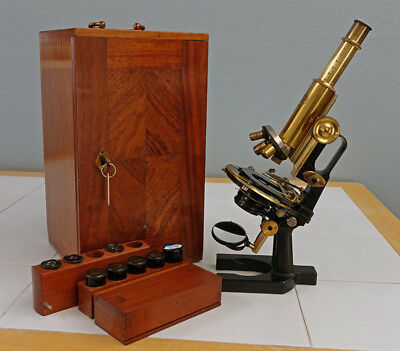 Carl Zeiss Jena Vintage Brass Jug-Handle Microscope, Stativ Iiic, Sn-78219, 1921