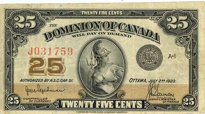 Canada 25 Cents Currency Banknote 1923