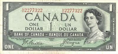 """Canada $1 Dollar Currency Banknote """"Devil's Head"""" 1954"""