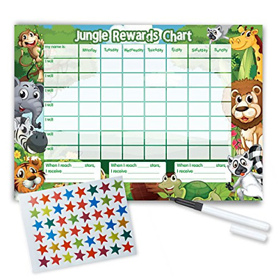 Re-usable Reward Chart, including FREE Star Stickers and Pen -Jungle Design