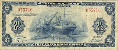 Curacao 2 1/2 Guilders Currency Banknote 1942
