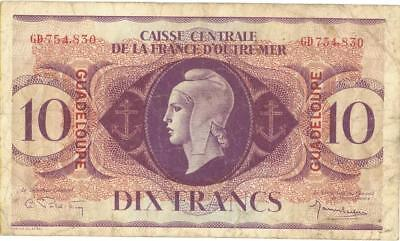 Guadeloupe 10 Francs Currency Banknote 1944