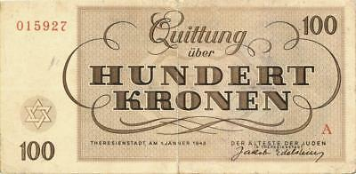 Czechoslovakia Theresienstadt Concentration Camp 100 Kronen Banknote