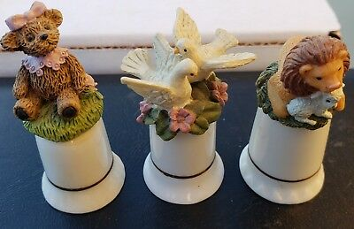 Three Vintage Porcelain Thimbles Teddy Bear White Doves Lion with Lamb FG and FM