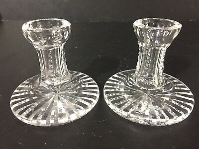"PAIR of 2 - 4"" CRYSTAL GLASS CANDLESTICKS from GIFTWARE Candle Holders Waterford"