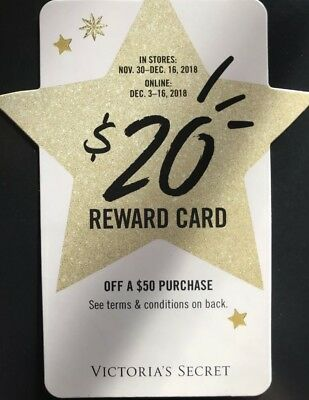 Victoria Secret Pink $20 off $50 Holiday Reward Card Coupon Online - Exp 12/16