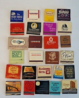 Vintage Match Books Las Vegas Los Angles Restaurants Hotels Casino  Mixed Lot