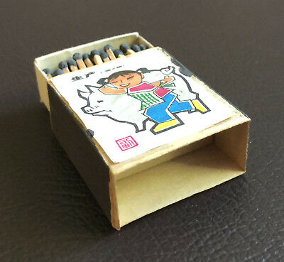 Vintage RARE Chinese Matchbox Thin Wood Box 1940s? Girl Pig Paper Label