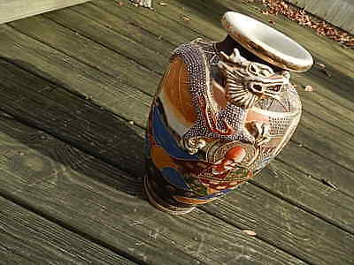 Antique Japanese Satsuma 14 1/2 Inches Tall Pottery/porcelain Vase W Dragon Intl