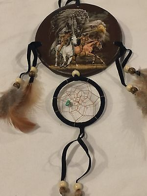 13'' Long Chief, Horses, Eagle Dream Catcher bedroom home decor cabin ! Nice !