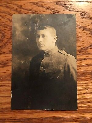 Ww1 Soldier Real Photo Postcard Buttons On Wool Coat Clear Rppc !