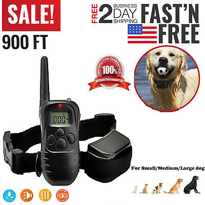 Pet Dog Training Collar Rechargeable Electric LCD 100LV Shock 900FT S L XL Dog