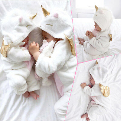 Newborn Baby Girl Unicorn Hooded Flannel Romper Jumpsuit Warm Outfit Clothes
