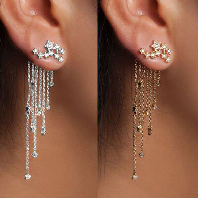 Shooting Star Rhinestone Long Tassels Drop Hook Dangle Earrings Gold Silver New