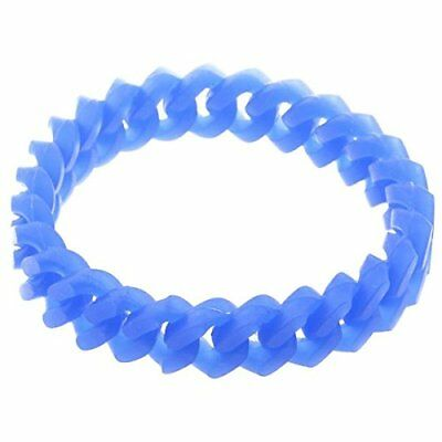 1X(Blue Silicone Wristband Bracelet Bangle Sports Gift 12mm U8V2)