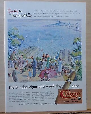 1947 magazine ad for Webster Cinco Cigars - Sunday on Telegraph Hill by Binford