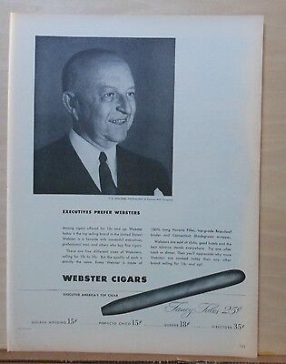1948 magazine ad for Webster Cigars - F.A. Williams Pres. of Cannon Mills