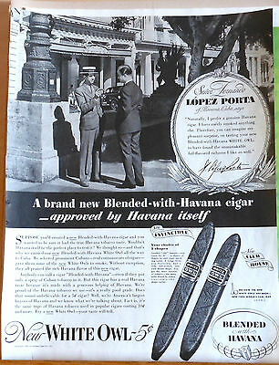 1939 magazine ad for White Owl Cigars - Señor Lopez Porta of Havana recommended