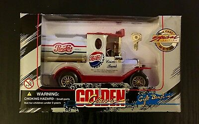 1996 Golden Classic Pepsi-Cola Die Cast Coin Bank In Box