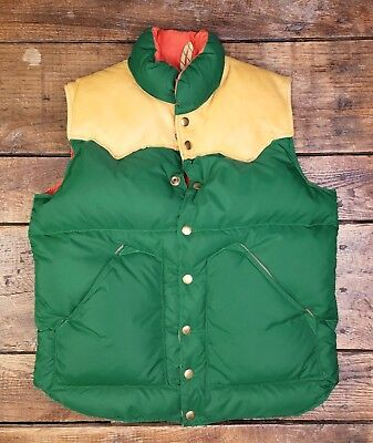 VTG 70s Rocky Mountain Featherbed Goose Down Leather Nylon Vest Youth Large USA