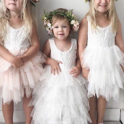 Baby Kids Flower Girls Lace Tutu Dress Wedding Bridesmaid Party Dresses White