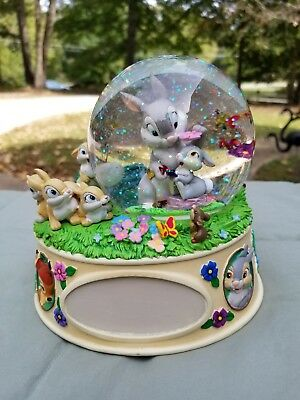 Disney Bambi Thumper Mom Sisters Mother's Day Bunny Snowglobe RARE WITH BOX
