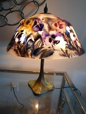 "Vintage ULLA DARNI Reverse hand painted floral desk table glass signed lamp15""W"