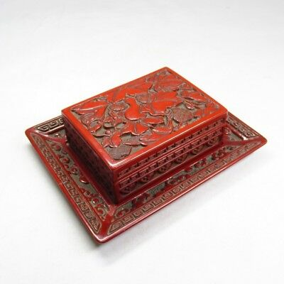 A841: Japanese accessory case with tray of old MURAKAMI TSUISHU lacquer ware