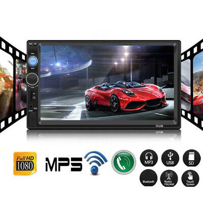 """7"""" 2 Din Touch Screen Car MP5 Player Bluetooth Stereo FM Radio USB In-Dash Grace"""
