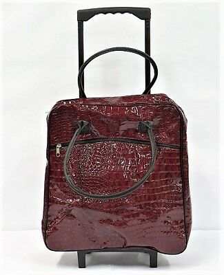 Luggage Rolling Wheeled Tote Carry-on with Retractable Handle in Burgundy 14.5""