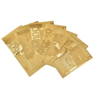 7pcs/Set~Euro Banknote Gold Foil Paper Money Crafts Collection Bank DIY Currency