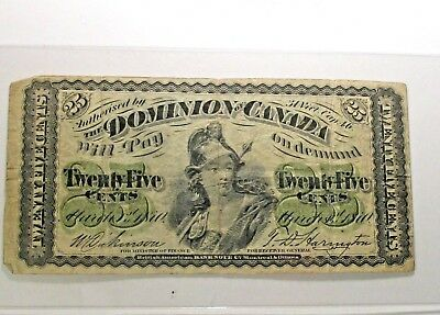 OLD CANADIAN  BANKNOTES 1870 Dominion of Canada  25 Cents TWENTY FIVE