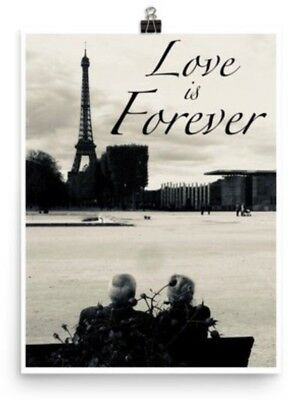 Paris France Eiffel Tower Love is Forever Photography Silvertone 8 x 10 Picture